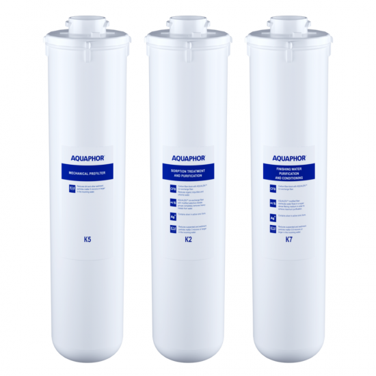 A set of replaceable modules for Aquaphor Crystal A (K5-K2-K7) Filters Aquaphor, Kitchen Appliances, Water Filtration Systems, Filters, Water filters under the sink image