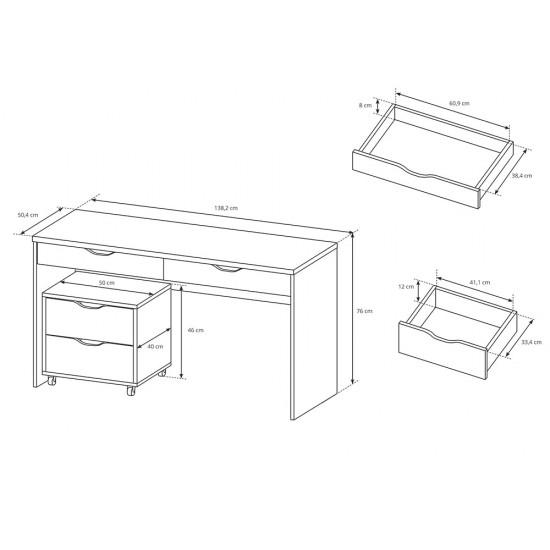 שולחן כתיבה MATI עם ארונית מגירות