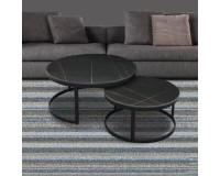 שולחן קפה מאבן שחור TALI - 80 * 38. ריהוט, כל שולחנות הקפה, ריהוט לסלון, שולחנות סלון, שולחנות קפה מזכוכית, שולחנות קפה.