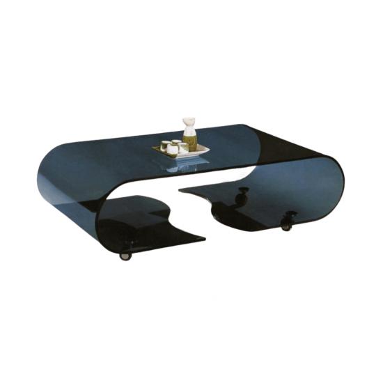 שולחן סלון זכוכית  שחורה אליפסה מנופץ