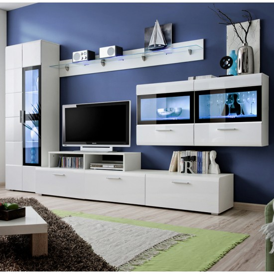 Krone IV Living Room Wall Unit Set White image