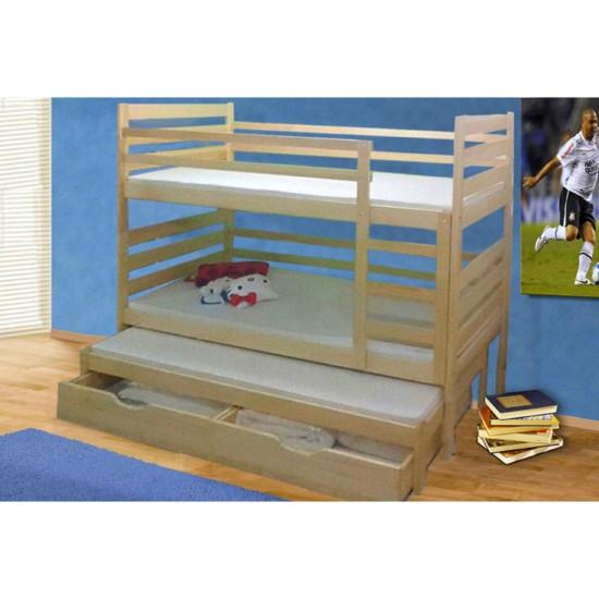 מיטת ילדים 3 קומות עץ מלא דגם פלוטו 3. ריהוט, חדרי ילדים, חדרי ילדים, מיטות ילדים, מיטות קומותיים.