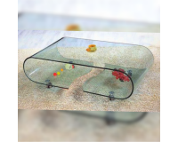 Shattered oval glass living room table