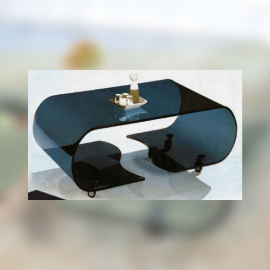 Shattered oval black glass living room table 082B