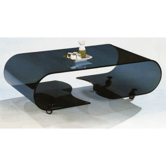 Shattered oval black glass living room table