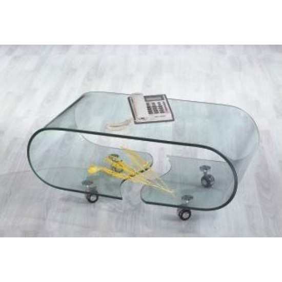 Shattered oval glass living room table 082